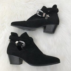 Sandro Black Aura Suede Western Buckle Ankle Boots